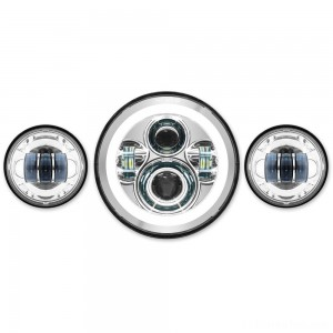 "HogWorkz LED 7"" Chrome HaloMaker Headlight with Auxiliary Passing Lamps - HW167004-HW195203"