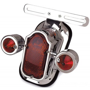 J&P Cycles LED Tombstone Taillight with Red Turn Signals