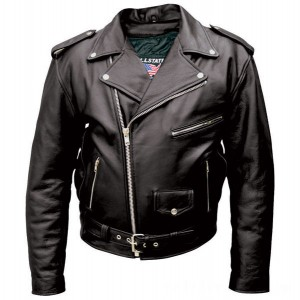 Allstate Leather Inc. Men's Tall Black Buffalo Leather Motorcycle Jacket - AL2017-48