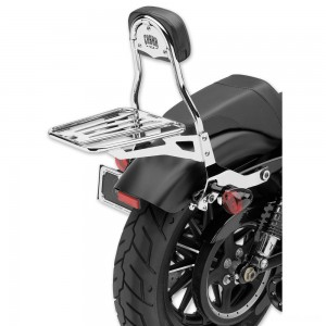 "Cobra Chrome Quick Detachable 14"" Round Bar Sissy Bar with Backrest - 602-2005"