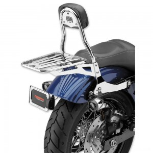 "Cobra Chrome Quick Detachable 14"" Round Bar Sissy Bar with Backrest - 602-2004"