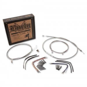 """Burly Brand 16"""" Braided Stainless Ape Hanger Cable/Line/Wiring Kit - B30-1080"""