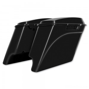 HogWorkz 4″ Vivid Black Extended Saddlebags with Dual Cut-Out - HW149008 | IDSpamCalls.Com