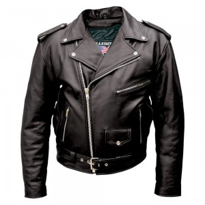 Allstate Leather Inc. Men's Black Buffalo Leather Motorcycle Jacket - AL2010-46