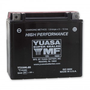 Yuasa High-Performance Maintenance Free Battery - YTX20HL-BS replaces type YTX20L-BS
