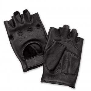 J&P Cycles Fingerless Deerskin Gloves with Easy-Pull Tabs - NG545EZP